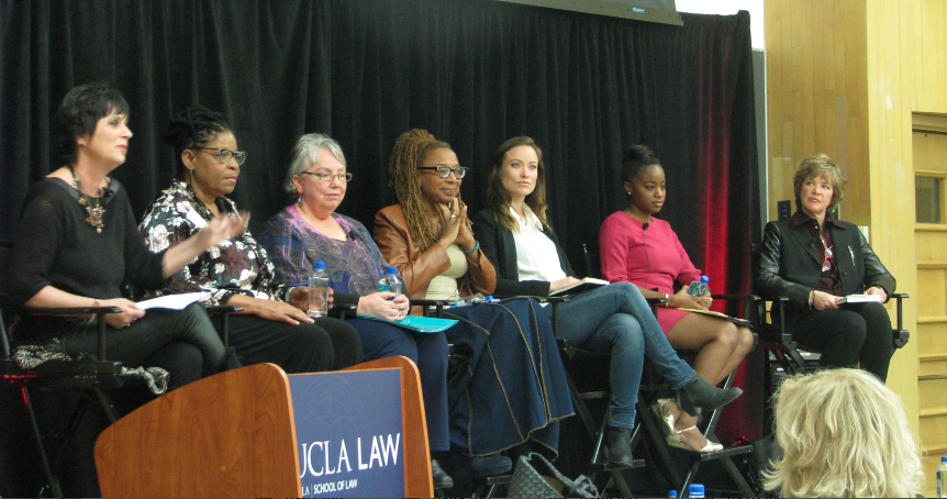 From left to right: Eve Ensler, Susan Burton, Mayor McLaughlin, Kimberle Crenshaw, Olivia Wilde, Ashely Franklin, and Laura Flanders.