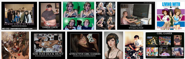 "The first twelve images that appear after typing ""gamer girl"" into Google."