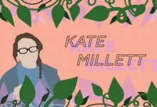 person with glasses, their name next to them (Kate Millett) and with vines and leaves framing the photo